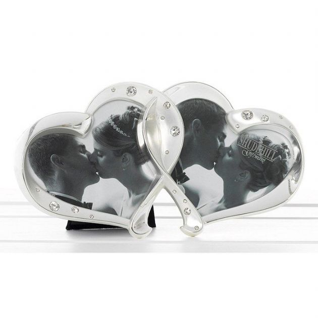 Two Hearts Entwined Satin & Polished Photo Frame